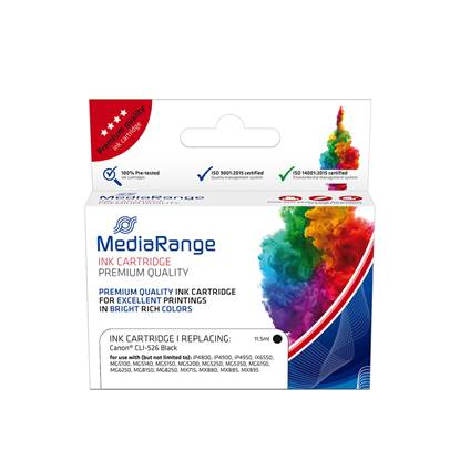 Inkjet MEDIARANGE Συμβατό για Εκτυπωτές Canon (Black) (CLI-526BK) (MRCC526BK)