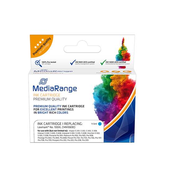 Inkjet MEDIARANGE Συμβατό για Εκτυπωτές Lexmark (Cyan) (14N1069E) (MRLX100CXL)
