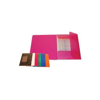 Ντοσιέ με Αυτιά & Λάστιχο Πλαστικό (Διαφανές Ρόζ) (POIPF117PNK)