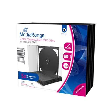 MediaRange CD Jewelcase for 2 discs 10.4mm Black Pack 5 (MRBOX31-2)