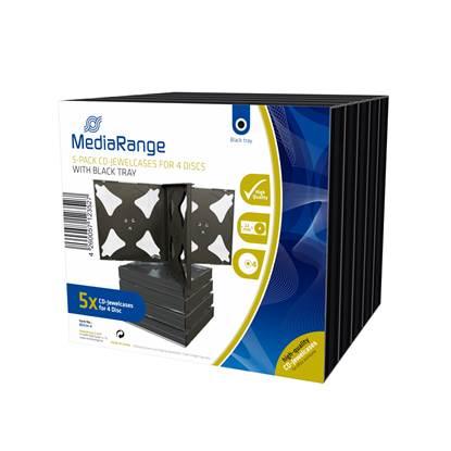 MediaRange CD Jewelcase for 4 discs 22mm Black Pack 5 (MRBOX34-4)