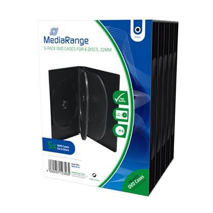 MediaRange DVD Case for 6 discs 22mm Black Pack 5 (MRBOX35-6)