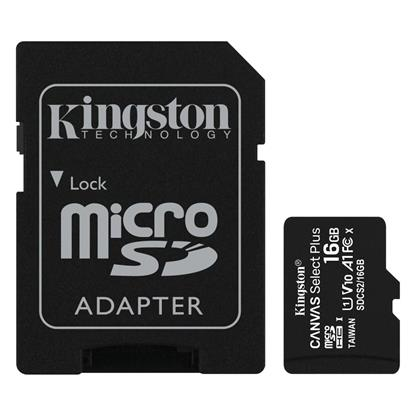 Kingston Micro Secure Digital 16GB microSDXC Canvas Select Plus 80R CL10 UHS-I Card + SD Adapter (SDCS2/16GB)