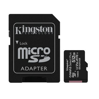 Kingston Micro Secure Digital 512GB microSDXC Canvas Select Plus 80R CL10 UHS-I Card + SD Adapter (SDCS2/512GB)