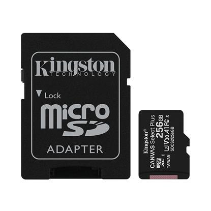 Kingston Micro Secure Digital 256GB microSDXC Canvas Select Plus 80R CL10 UHS-I Card + SD Adapter (SDCS2/256GB) (KINSDCS2/256GB)