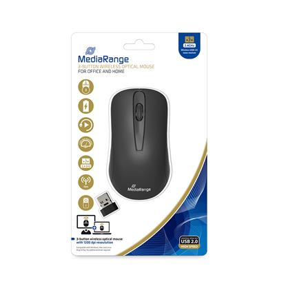 MediaRange Optical Mouse 3-Button (Black, Wireless) (MROS209)