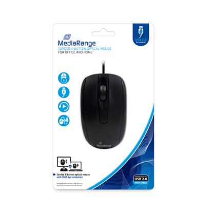 MediaRange Optical Mouse Corded 3-Button (Black, Wired) (MROS211)