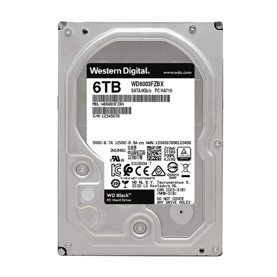 Western Digital Εσωτερικός Σκληρός Δίσκος 6TB (Black, 3.5'') (WD6003FZBX)