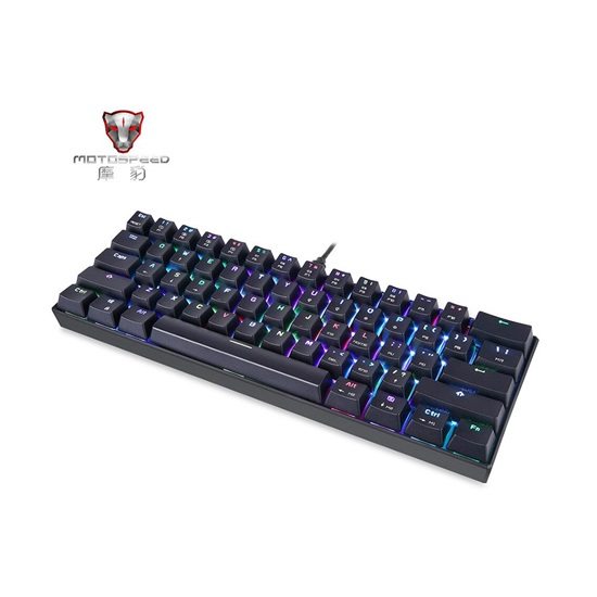 Motospeed K61 Black Wired Mechanical Keyboard RGB Red Switch GR Layout