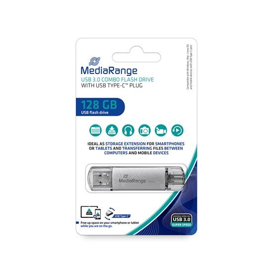 MediaRange USB 3.1 Combo Flash Drive with USB Type-C™ plug, 128GB (MR938)