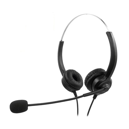 MediaRange Corded stereo headset with microphone and control panel, black (MROS304)