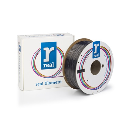 REAL PETG 3D Printer Filament - Smoky black - spool of 1Kg - 1.75mm (REFPETGSMOKYBLACK1000MM175)
