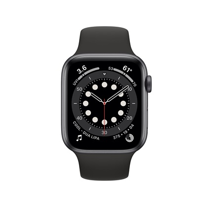 Watch Apple Series 6 GPS 44mm Space Gray Aluminum Case with Black Sport Band (M00H3TY/A)