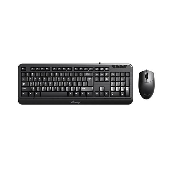 MediaRange Corded Keyboard & 3-button mouse set, Wired (Black) (MROS108-GR)