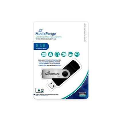 MediaRange USB combo flash drive with micro USB (OTG) plug, 8GB (MR930-2)