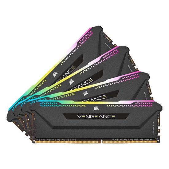 Corsair RAM VENGEANCE RGB PRO SL 32GB (4x8GB) DDR4 DRAM 3200MHz C16 Memory Kit – Black (CMH32GX4M4E3200C16) (CORCMH32GX4M4E3200C16)