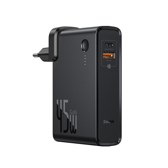 Baseus GaN Charger 45W Type-C + USB-A 10000mAh Black (PPNLD-C01)