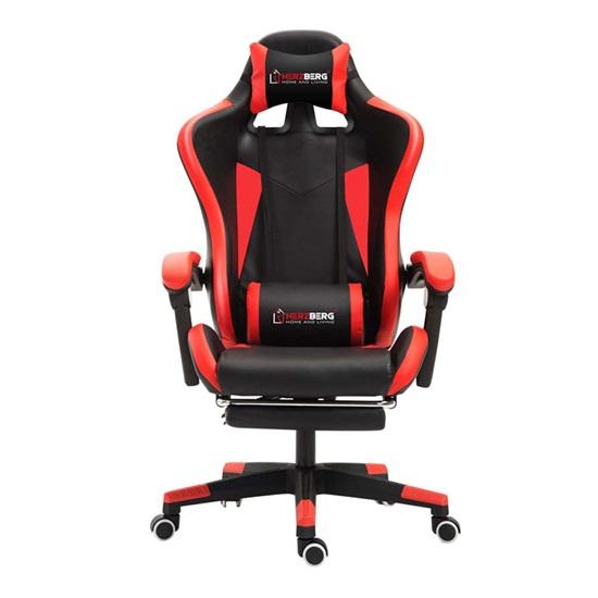 Καρέκλα Gaming με Υποπόδιο Red Herzberg (HG-8080RED) (HEZHG8080RED)