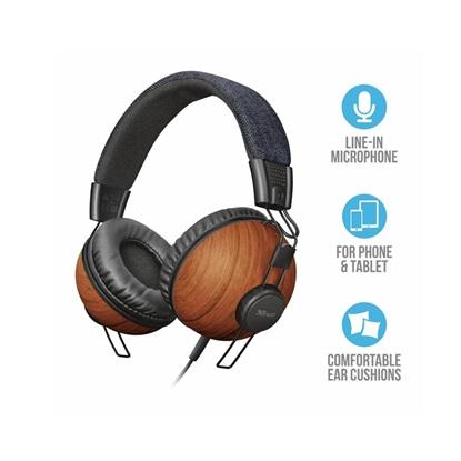 Trust Noma Headphones - denim wood (22637) (TRS22637)