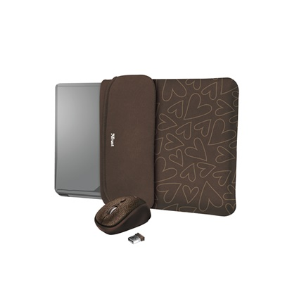 """Trust Yvo Reversible Sleeve for 15.6"""" Laptops with wireless mouse - brown hearts (23446) (TRS23446)"""