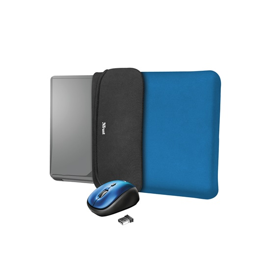 "Trust Yvo Reversible Sleeve for 15.6"" Laptops with wireless mouse - blue (23452) (TRS23452)"