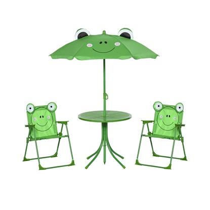 Σετ Παιδικό Σαλόνι Κήπου με Τραπέζι 2 Καρέκλες και Ομπρέλα Βάτραχος 4 τμχ Outsunny (312-024GN)
