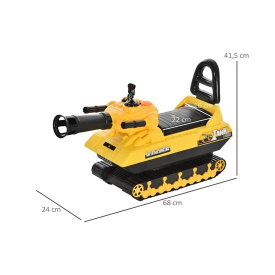 Παιδικό TANK HOMCOM με πυροβόλο μπάλα και αποθηκευτικό χώρο, Ride On Toys για παιδιά + 3 ετών, κίτρινοr (370-122) (HOM370-122)