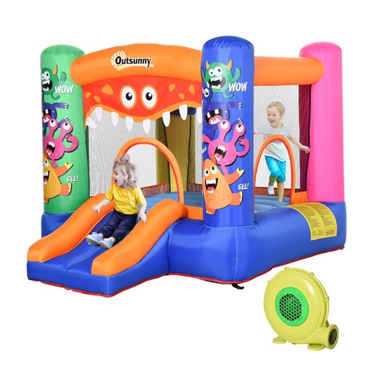 Outsunny Παιδικό Φουσκωτό Σπίτι - Τραμπολίνο με Τσουλήθρα και Μπασκέτα (342-021V90) (OUT342-021V90)