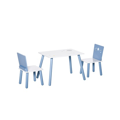 HOMCOM Τραπέζι με καρέκλες για αγόρια και κορίτσια 2-6 ετών σε ανοιχτό μπλε και λευκό ξύλο (312-035) (HOM312-035)
