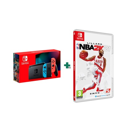 Nintendo Switch Neon Red/Blue & NBA 2K21 32GB (SET.509) (NINSW509)