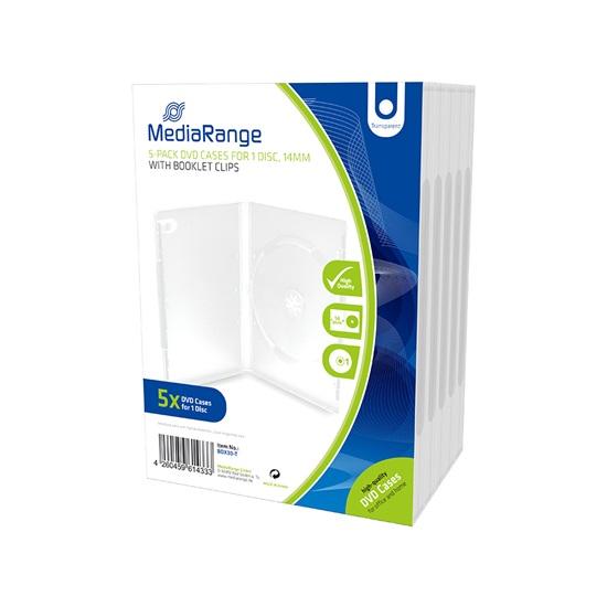 MediaRange DVD Case  for 1 Disc 14mm Transparent (5 Pack) (MRBOX30-T)