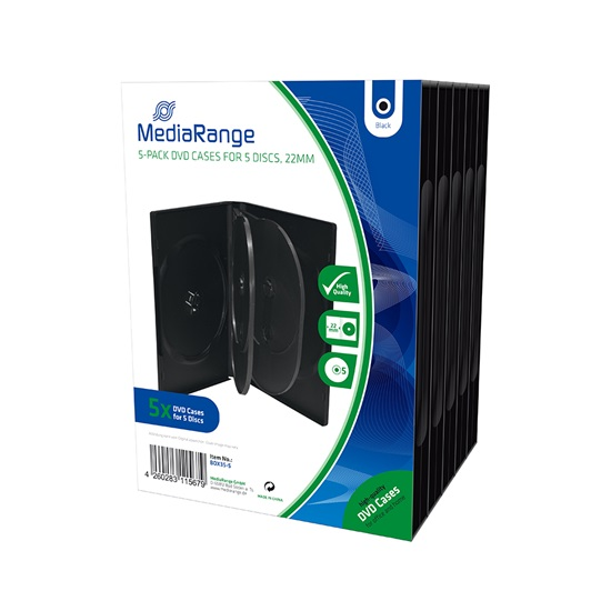 MediaRange DVD Case for 5 discs 22mm Black Pack 5 (MRBOX35-5)