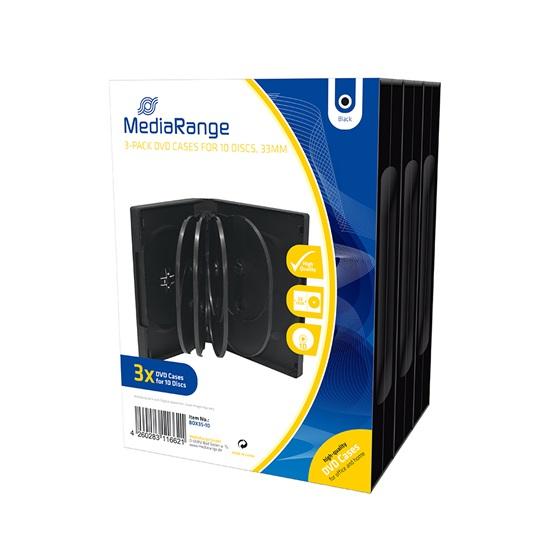 MediaRange DVD Case for 10 discs 33mm Black Pack 3 (MRBOX35-10)