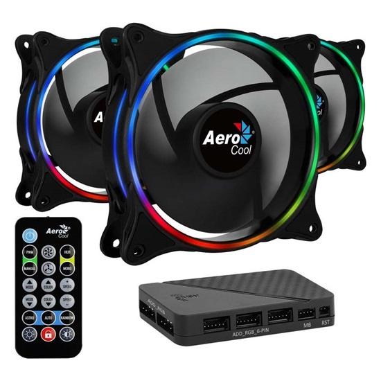 Aerocool Eclipse 12 Pro 12cm ARGB FANS x3 & H66F HUB & Remote CONTROL (ACF3-EL10217.12)