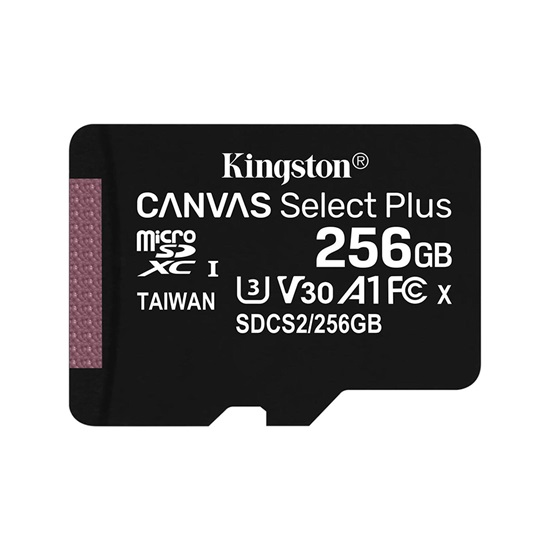Kingston 256GB microSDXC Canvas Select Plus 80R CL10 UHS-I Card (SD adapter not included) (SDCS2/256GBSP) (KINSDCS2/256GBSP)-KINSDCS2/256GBSP